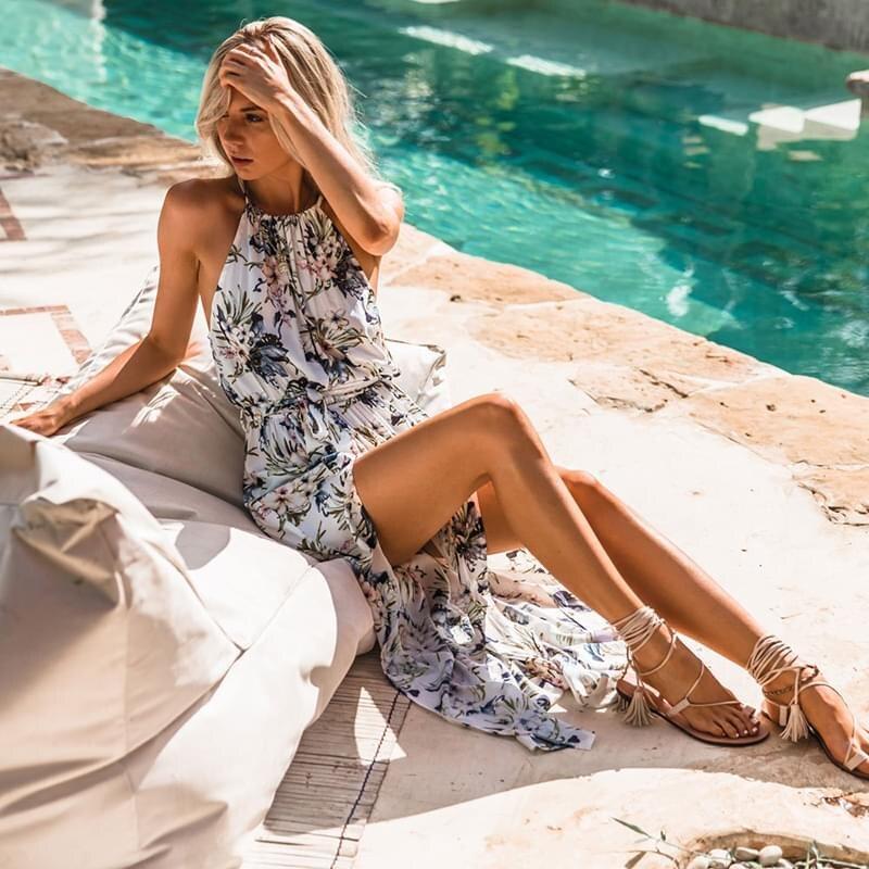 2019 женские летние пикантные Boho высокий разрез Макси длинное платье Вечеринка пляжные наряды сарафан цветочный платье на бретелях лето
