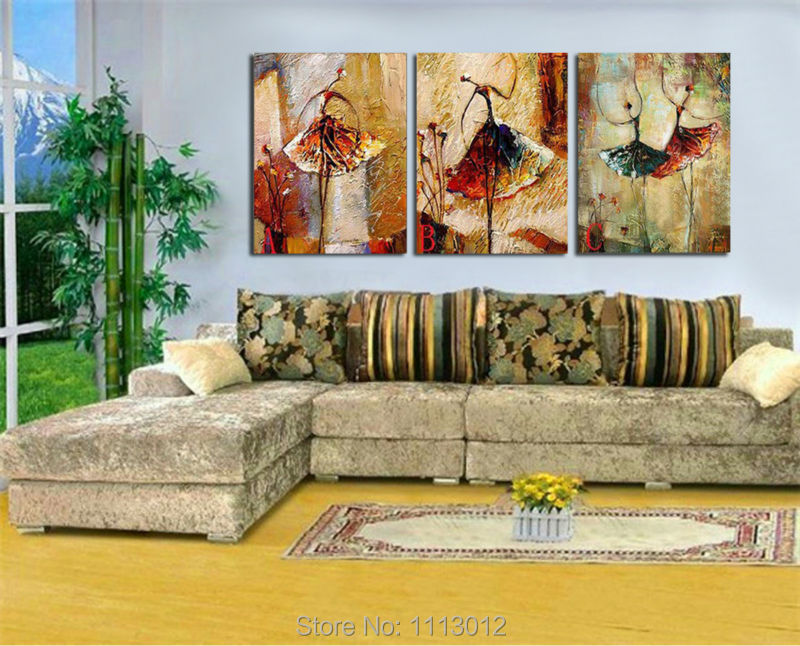 Modern Knife Sexy Ballet Dancer Oil Painting Wall Pictures For Living Room Home Decoration Abstract Art