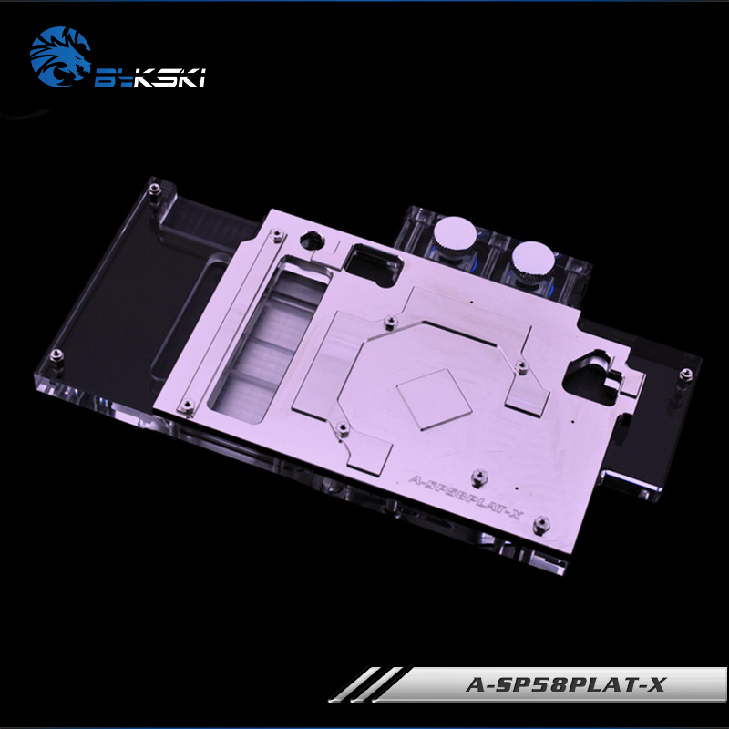 Bykski A-SP58PLAT-X, Full Cover Graphics Card Water Cooling Block for Sapphire Nitro+RX580 Special/Limited, Pulse RX580 4G/8GD5