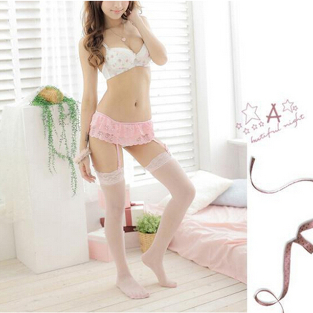 1Pcs 2 Layer Floral Lace Garter Belt Suspender Lingerie Sexy Sheer Lace Top Thigh-Highs Stockings & Garter Belt Suspender Set