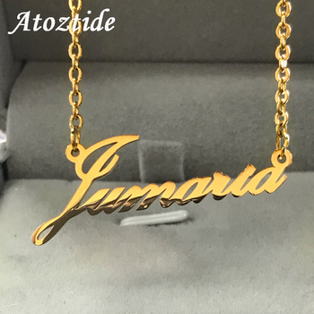 Atoztide Stainless Steel Personalized Custom Name Necklace Mirror Surface Gold Choker Necklace Pendant Nameplate Gift 1