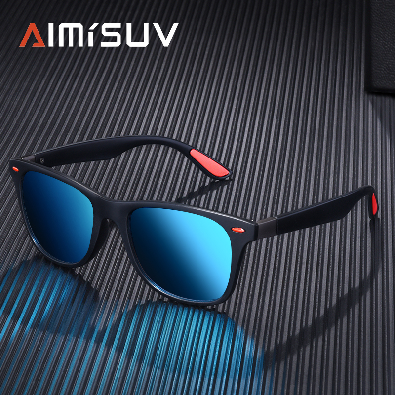 AIMISUV Polarized Sunglasses Men Women Classic Rivet Square Frame Sun glasse for Men Driving Vintage Brand Design Goggles UV400