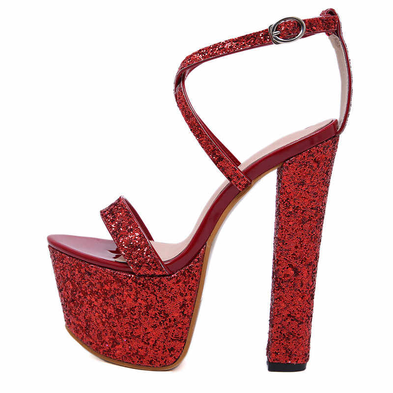 38e2f28c12a5 ... 17cm Ultra high heels Women Sandals Bling Sequined Platform wedge  Gladiator Sandals Prom shoes Summer Club ...