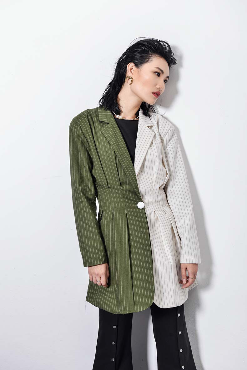 Мелинда Стиль Новинка 2017 Женская куртка полосатый узор лоскутное пальто бесплатная доставка