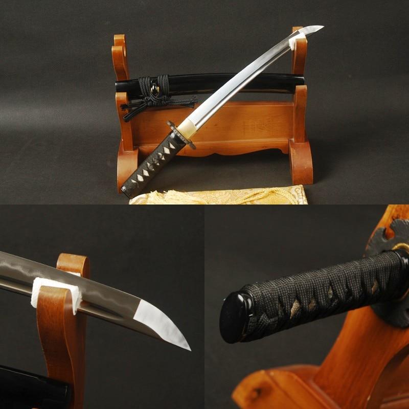 Handmade Samurai Tanto Japanese Short Sword Folded Steel Clay Tempered Sword Battle Ready Full Tang Cutting