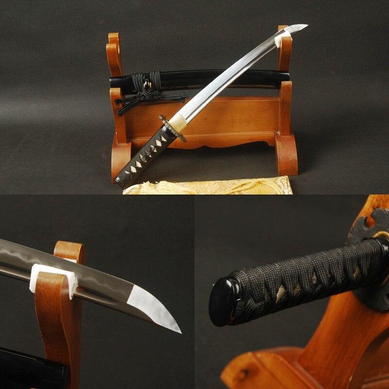 Main Samurai Tanto Japonais Épée Courte En Acier Plié Clay Trempé Épée Bataille Prêt Pleine Saveur De Coupe Pratique Court Couteau