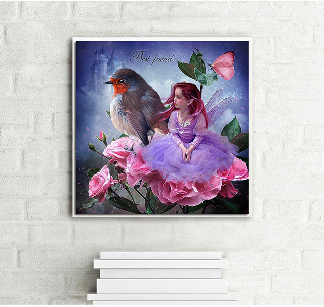 Diy diamond painting needlework mosaic full round drill young girl and bird diamond embroidery wall sticker