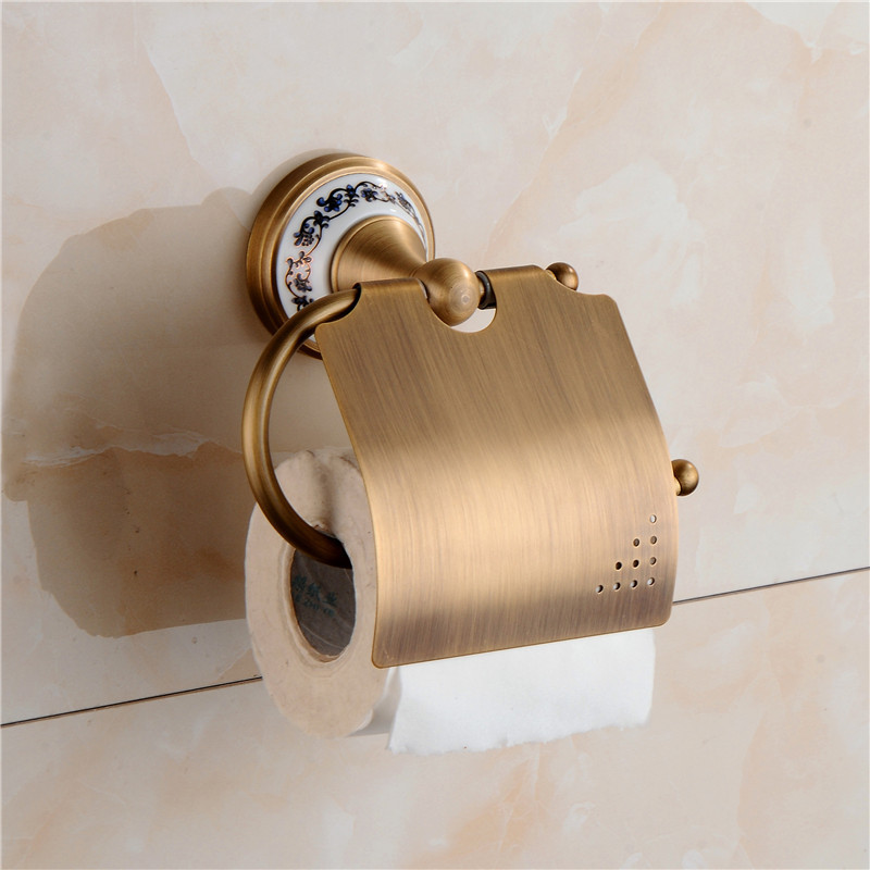 AUSWIND All copper antique blue and white porcelain paper towel rack bronze brush paper holder with cover bathroom hardware set european luxury all copper and bronze towel ring towel hanging antique blue and white towel ring towel rack hanging round