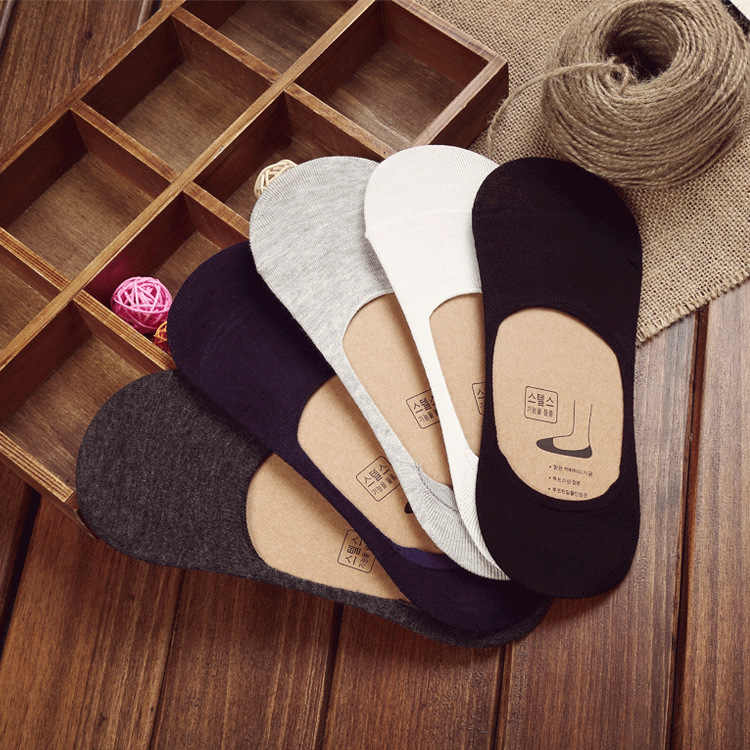 10 шт. = 5 пар новые хлопковые невидимые носки для мужчин мужские носки силиконовые противоскользящие, однотонные летние носки