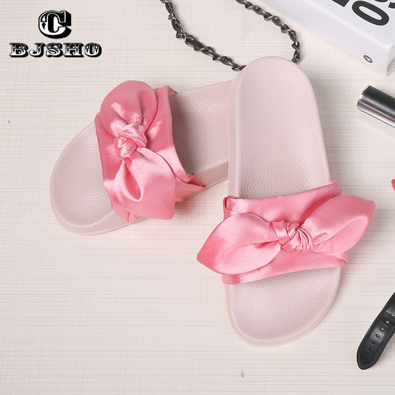 CBJSHO Sweet Bowtie Women Summer Slippers 2017 New Slip On Flat Heel Flip Flops Ladies Sandals Woman Platform Women Shoes plus size 34 43 new platform flat shoes woman spring summer sweet casual women flats bowtie ladies party wedding shoes