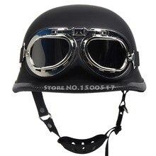 WWII German Style Vintage Motorcycle Helmet  Moto Motocicleta Capacete Casco Casque Cruiser Half Helmets With Free Goggles