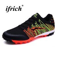 Couples Football Shoes Black Blue Artificial Synthetic Turf Male Spring Summer Man Football Turf Cleats Lightweight Sneakers