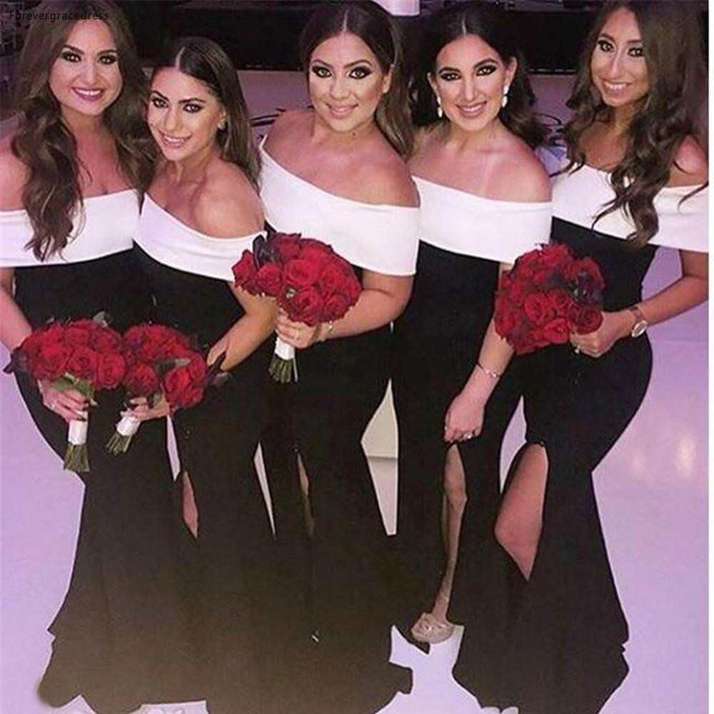 2019   Bridesmaid     Dress   Black with White Summer Garden Formal Wedding Party Guest Maid of Honor Gown Plus Size Custom Made