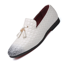 JUQI 2019 Pointed Toe Slip-On Men Casual Shoes Formal Dress Flats Weaving Tassel Loafers Office Wedding Driving