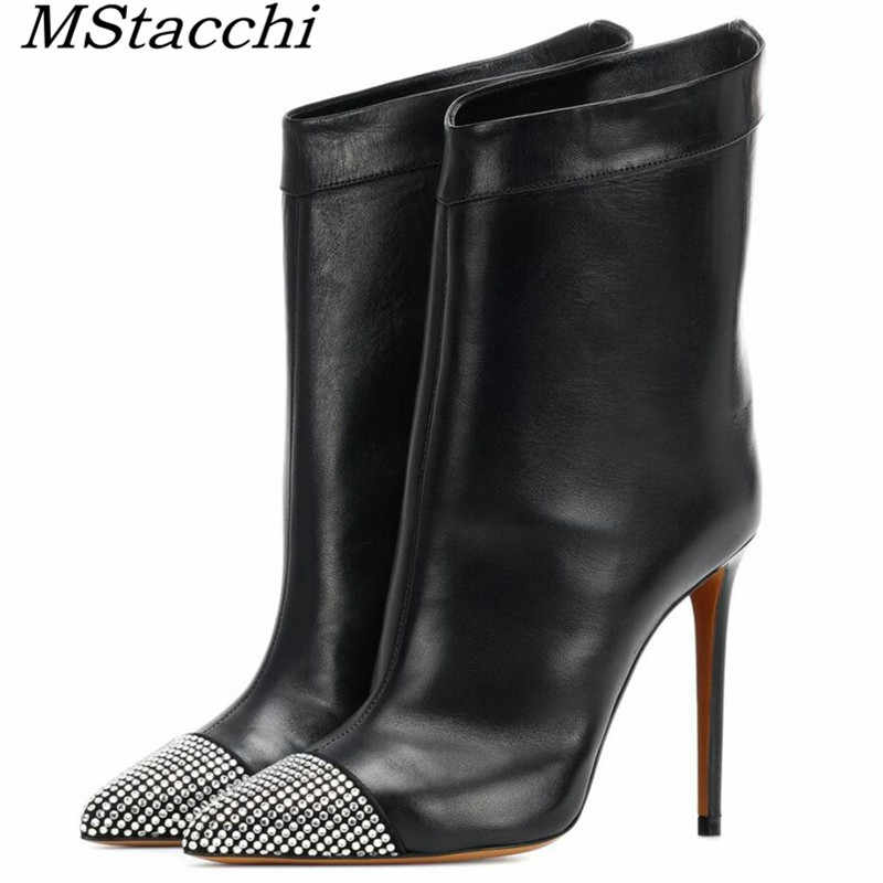 MStacchi Women Pointer Toe Rhinestones Crystal Ankle Boots Sexy Sparkling Crystal Shoes Ladies Stilettos Bling High Heel Slip On