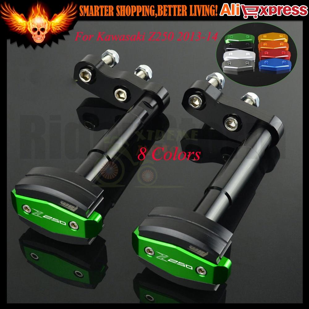 Motorcycle CNC Frame Slider Anti Crash Protector Crash Pad Engine Case Sliders Protector For Kawasaki Z250 Z 250 2013 2014