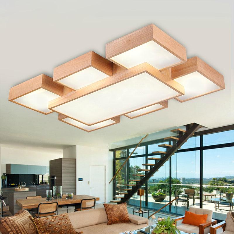 Neue EICHE Moderne Led Deckenleuchten Fr Wohnzimmer Schlafzimmer Lamparas De Techo Holz Dekoration Deckenleuchte