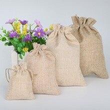 5 unids/lote de bolsas de regalo de arpillera Natural Vintage arpillera Hessia bolsa de detalles para fiesta de boda bolsas de regalo de yute tamaño pico 4 suministros