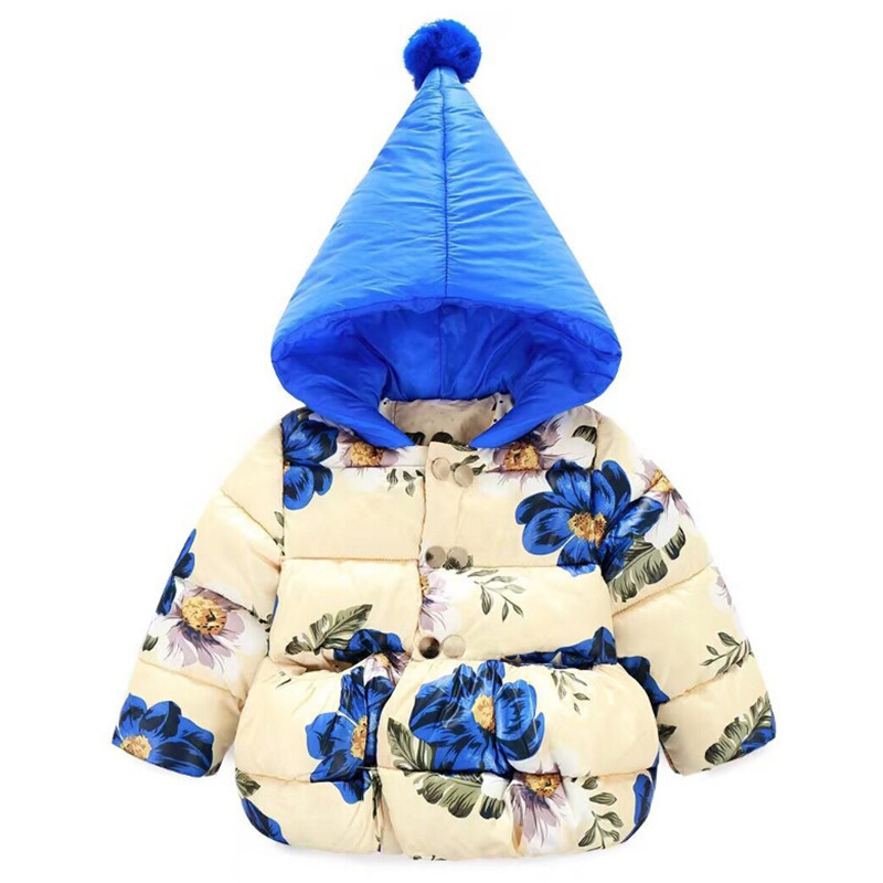 Winter Jacket Girls Child Girls Down Coat Parkas With Animal Floral Printed Hooded Fur Kids Down Jackets Girls Outerwear Coats 2017 children jackets for boys girls winter down cotton coats kids thickening wadded jacket hooded parkas child coat
