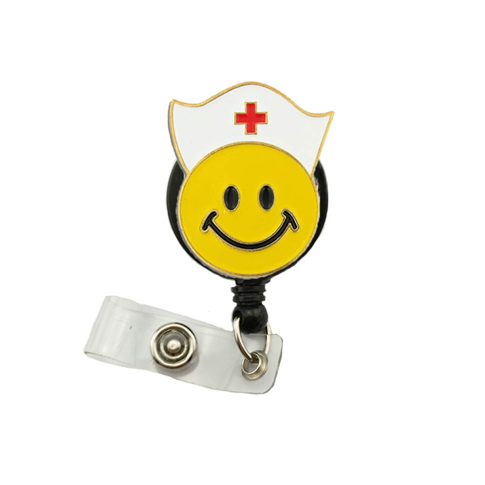 50pcs Smiley Face Nurse's Hat Retractable ID Badge Reel with Clip for Nurses and Medical Personnel Smile Emoji Badge Holder