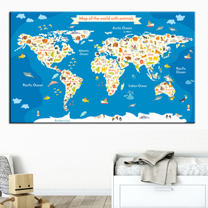 Map Of The World With Animals Ocean Nursery Wall Art Canvas Painting Nordic Posters And Prints Wall Pictures For Kids Room Decor