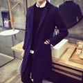 2017 Men Long Sleeve Grey Color Turn Down Collar Mens Wool Trench Korean Slim Men Woolen Coat Casual Manteau Homme Long M-5XL