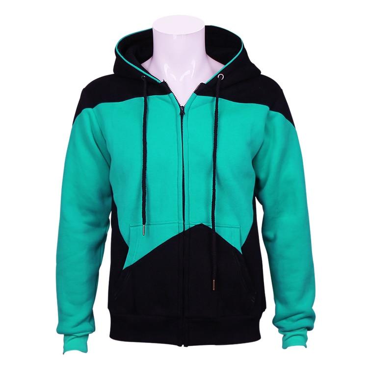 Cosplaydiy Star Trek Cosplay Costume Zip up Hoodie Blue Mens Casual Cotton Sweatshirts Hooded Coat Outwear Halloween Jacket J10