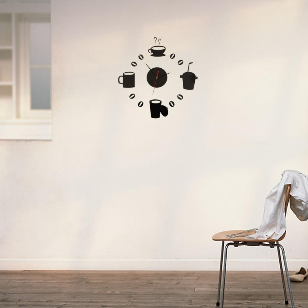 Poster design diy - Hot Sale Acrylic Mirror Effect Clock Design Coffee Cup Wall Sticker Home Decor Diy New Free