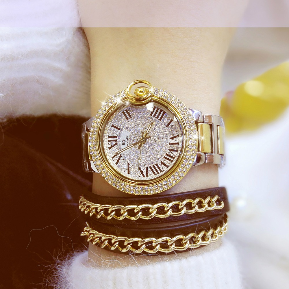 2017 Hot Sale Berømte Brand Bling Watch Kvinner Luksus Østerrikske Crystal Watch Gold Shinning Diomand Rhinestone Bangle Armbånd