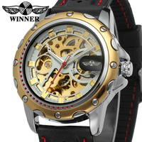 WRG8027M3T7 Forsining Company Winner Brand Automatic Skeleton Original Men Watch With Black Silicone Band Free Shipping