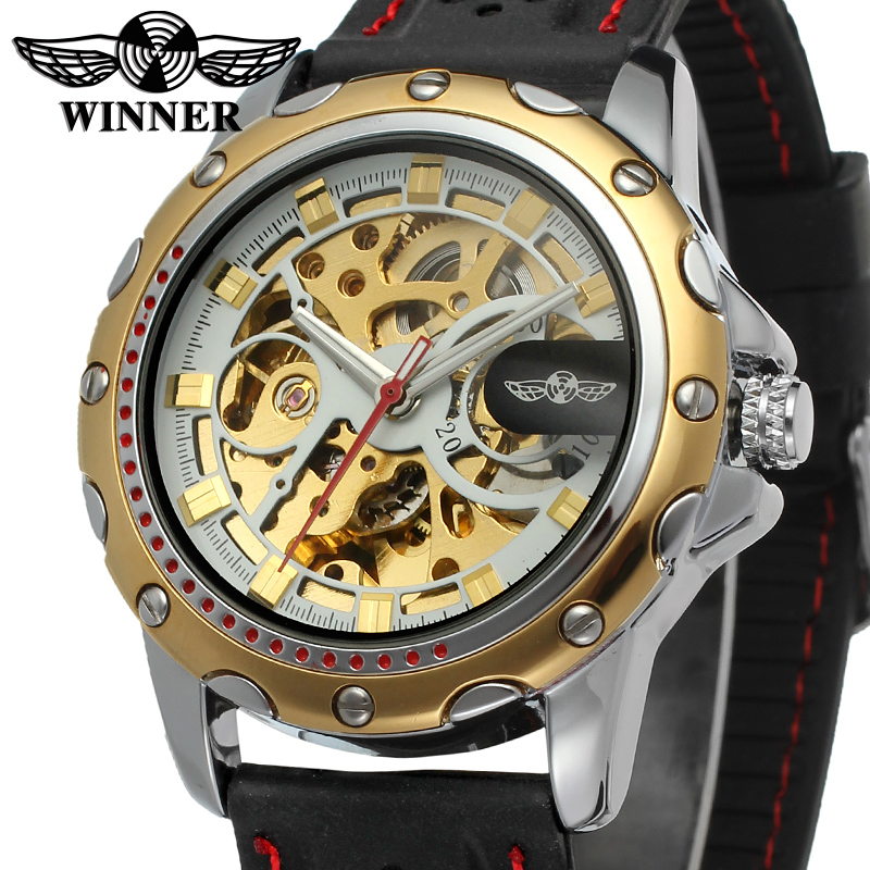 Men watch font b Winner b font skeleton watch with gold color bars index black silicone