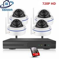 SSICON 4CH Беспроводной комплект видеонаблюдения 720 P купольная ip камера Камера NVR 4 шт. домашний Wi Fi видеонаблюдения Системы ИК Ночное видение plug