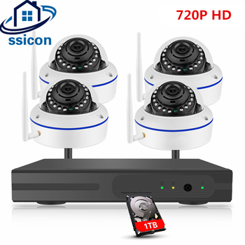 SSICON 4CH Wireless CCTV Kit 720P Dome IP Camera NVR 4PCS Home Wifi Security Surveillance System IR Night Vision Plug And Play