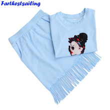 цены 2018 Summer Girls Clothes Set Cotton T-shirt+Skirt Outfits Kids Girls Sport  Clothing Sets Child Suit for Children Fashion 2PCS