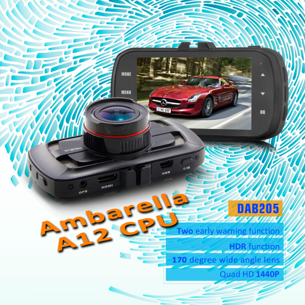 Azdome DAB205 Ambarella A12 Car DVR 3.0 inch Quad HD 2560*1440P Screen 170 Degree Wide Angle Lens HDR GPS Car Camera Dash Cam gs90a ambarella a7 car dvr camera hd 2 7 inch dash cam 170 degree wide viewing angle camcorder with gps module