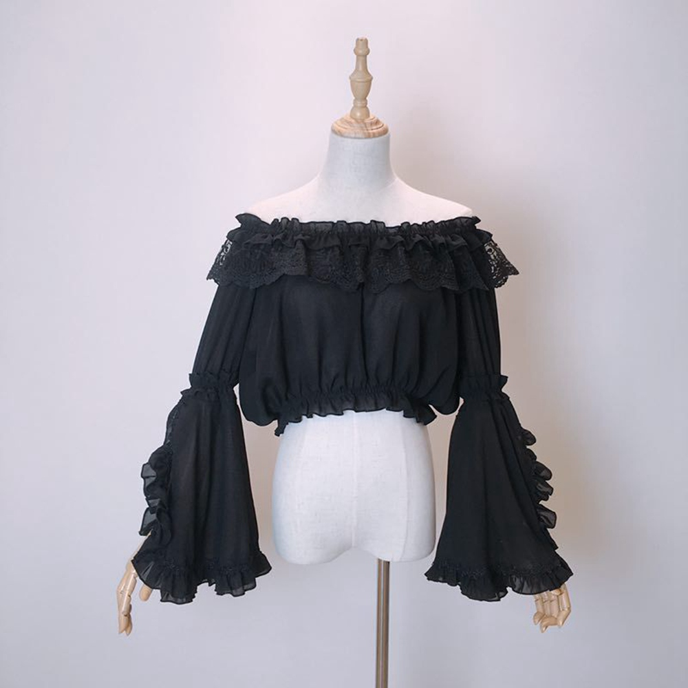 Ladies Chiffon Lolita Blouse Flare Sleeve Shoulder-off Crop Tops Shirt Tops