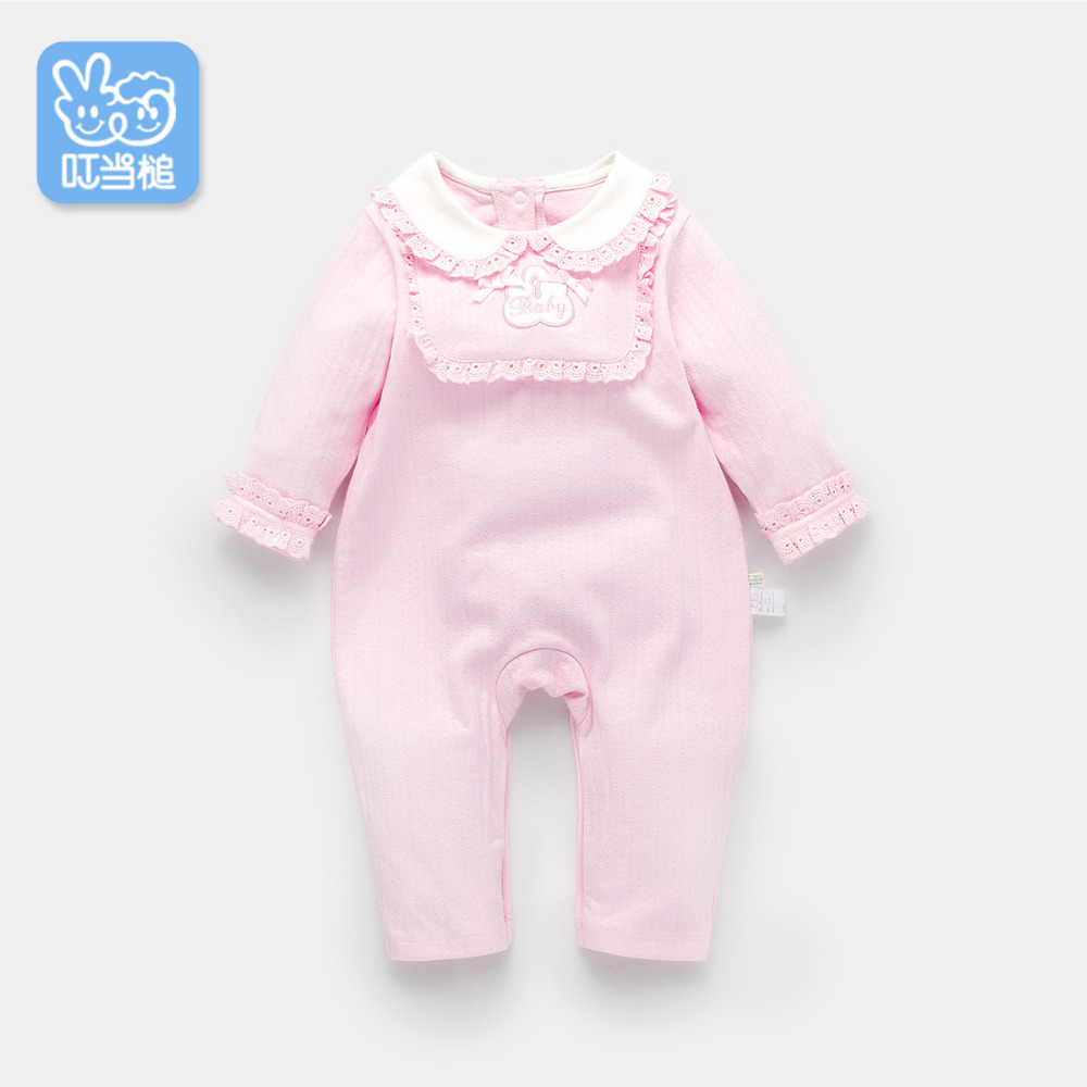 Dinstry 2018 spring and autumn Newborn baby girl pink princess Cotton lace Romper dinstry newborn baby girl cotton romper jumpsuit long sleeved spring and autumn pink infant clothing clothes