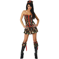 2016 New Arrival Three Parts Doctor Costumes Sexy Strapless Army Military Uniform Cosplay Fancy Halloween Costume For Women