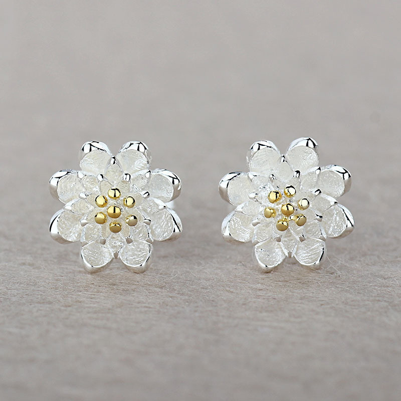 Silver Flower Shape Jewelry For Women 925 Sterling Silver Accessories New Arrival Casual Stud Earrings Daily Party Wear Ювелирное изделие