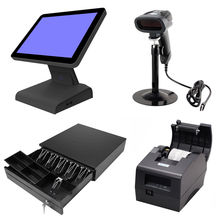 лучшая цена 15 inch All in one Touch POS System Touch Screen POS System Cash Register With thermal Printer Cash Drawer & Barcode Scanner