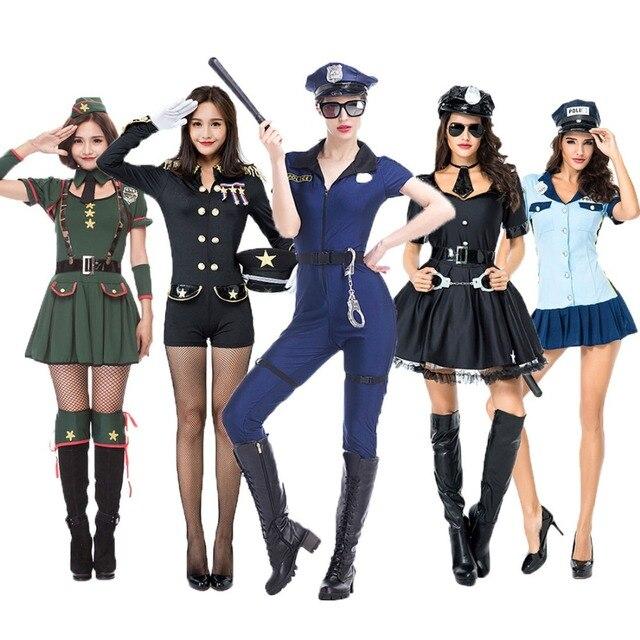 37a60e564 Purim Umorden Halloween Adulto Sexy Trajes de Festa Mulher Fantasia Policial  Uniforme Macacão para As Mulheres