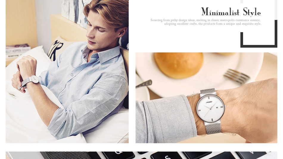 SINOBI Men Quartz Watch Luxury Top Brand Fashion Mesh Delicate Ultra-thin Business Watch Full Stainless Steel Male Wrist Watches 15