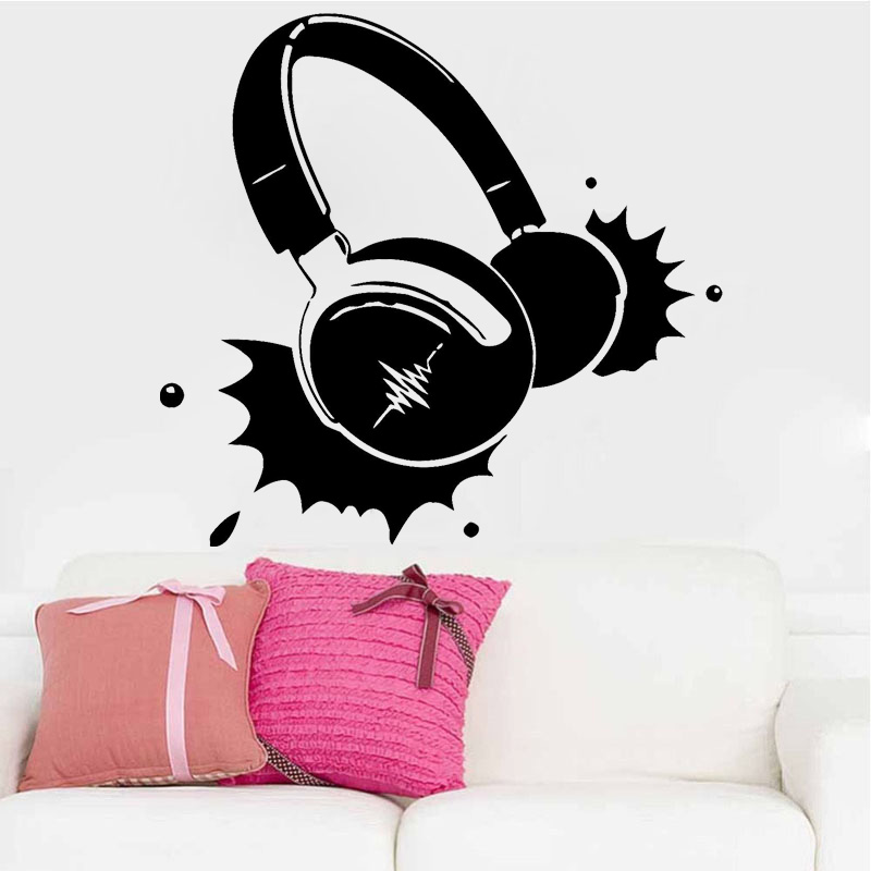 Headphones Music Vinyl Wall Stick Rock Pop Song Singer Decor Living Room Wall Decal For boys Benroom Adhesive Wallpaper ZS93 image