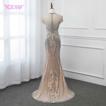 New Collection 2019 Glitter Silver Rhinestones Long Evening Dresses Elegant Nude Tulle Pageant Dress Women Gown Vestidos YQLNNE 2