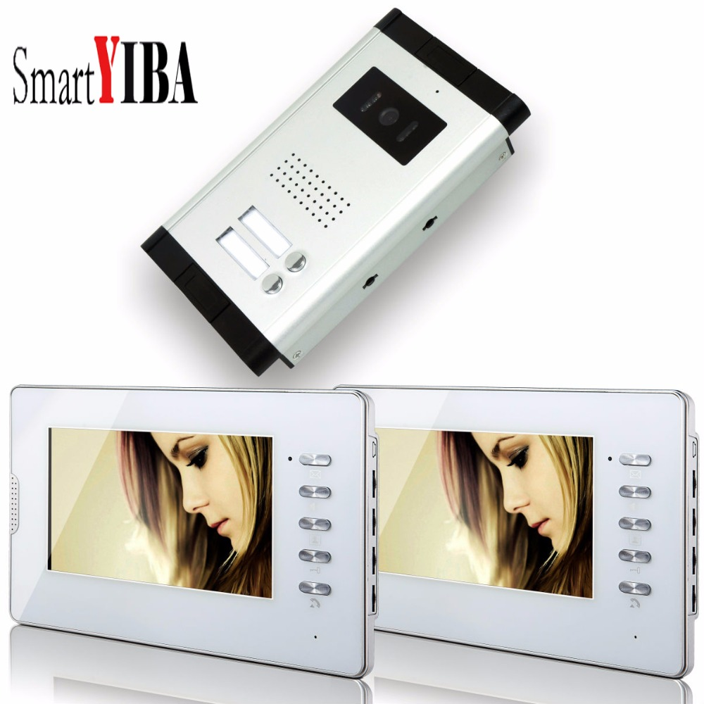 SmartYIBA Home Security 7'Inch LCD Display Wired Video Door Phone Doorbell Speakerphone Video Intercom System 1 Camera 2 Monitor safurance wired 7 lcd video door phone doorbell home intercom system ir camera 1 monitor speakerphone access control