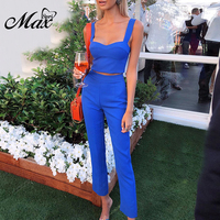 Max Spri Sexy Office Lady 2 Piece Sets Straps Sleeveless Crop Top Women Party Full Length Pants Suits 2019 Summer New Fashion