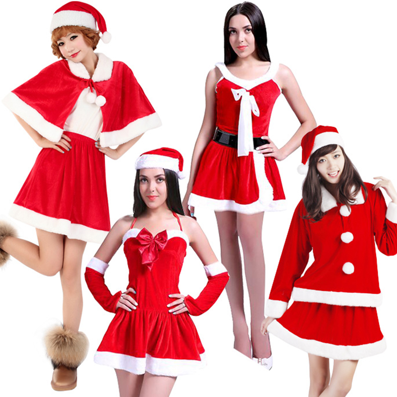 Free shipping 2018 New Year Adult Santa Claus Costume with hat Deluxe Jingle Christmas Costumes Red Dress Women Cosplay Dress up