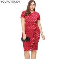 YOUPUYOUEN Polka Dot Ruffles Office Pencil Dress Women Elegant Party Club Bodycon Dresses 2017 Summer Big