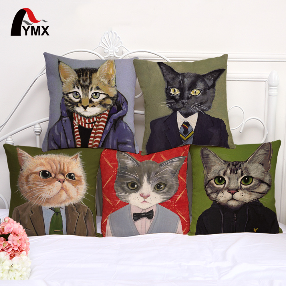 Cat Family Cushion Cover 45*45CM Animal Head Image Linen Pillow Cases Soft Chair/Car/Sofa Pillow Cover Window Home Decorative