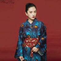 Japanese kimono traditional dress yukata female geisha costume haori obi traditional japanese kimonos cosplay clothing Q652